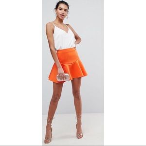 Orange neoprene mini skirt